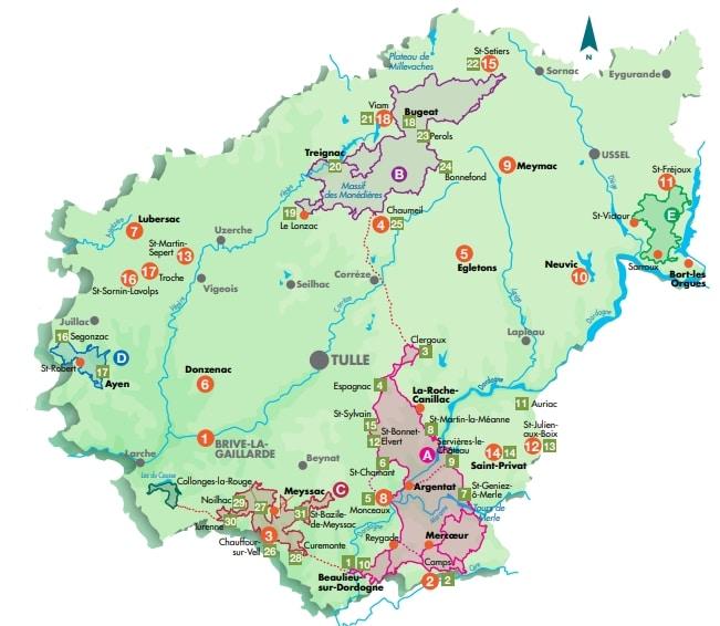 carte-itineraires-randonnees-cheval-et-centres-tourisme-equestres-correze-2021